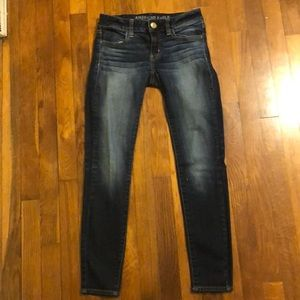 Dark colored jeans in good condition.